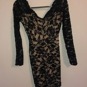 Black Body-con Lace Long Sleeve Dress